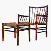 Danish Early Teak Spindle + Cord Easy Chair w\/ Ottoman