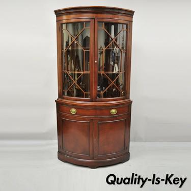 Drexel Vintage Mahogany Bow Front Glass Corner China Cabinet Curio Display