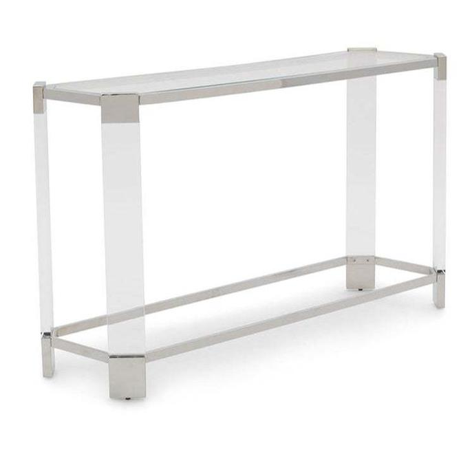 Mitchell's Gold + Bob Williams Contemporary Polished Nickel and Acrylic Console Table
