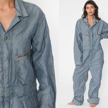 Striped Boiler Suit -- 70s Key Coveralls Pants Jumpsuit Workwear 80s Boilersuit Blue Work Wear Vintage Mechanic Medium Large Tall by ShopExile