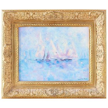 Midcentury Oil on Canvas Painting of Sailboats by ErinLaneEstate
