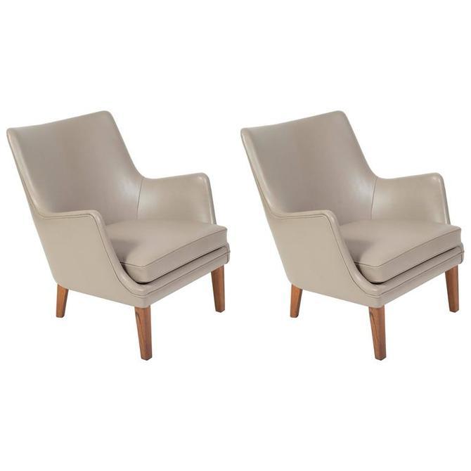Pair of Arne Vodder Leather Lounge Chairs by Ivan Schlechter, Denmark, 1953
