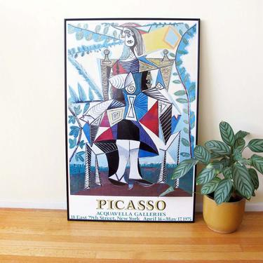 Vintage 70s Pablo Picasso Exhibition Poster Framed 24x37 - Picasso Acquavella Galleries - Large Framed Picasso Cubist Artwork - Colorful by MILKTEETHS