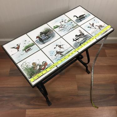 Mid century wrought iron duck tile top side table - Dennis Puleston art by NextStageVintage