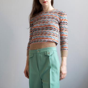 Missoni intarsia aqua beige stripes sweater / XS S by EELT