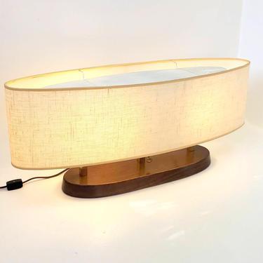 Mid Century Modern Modeline Oblong Oval Walnut Desk or Table Lamp Original Shade Double Bulb Living Room Lighting Low Profile 1960's Light by MakingMidCenturyMod