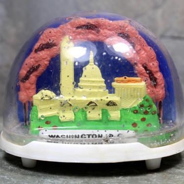 Vintage Washington DC Souvenir Snow Globe - Capital Building - Washington Monument - Cherry Blossoms   FREE SHIPPING by Bixley