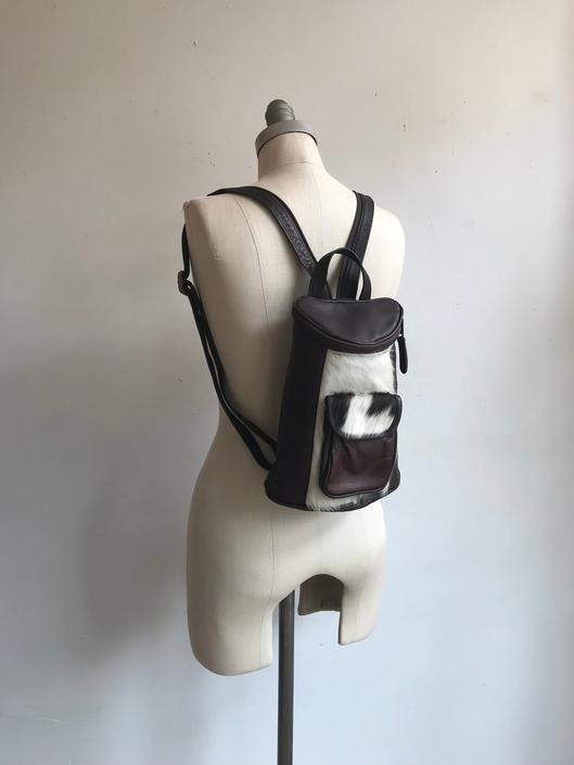 Vintage 90s Leather and Fur Backpack/ Brown Leather Knapsack / Hide On Bag by bottleofbread
