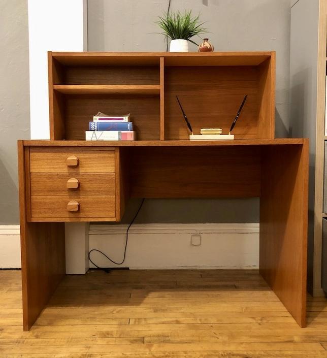 Vintage Danish Teak Desk w\/ bookcase top