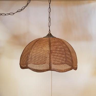 Swag Pendant Light with Woven Shade
