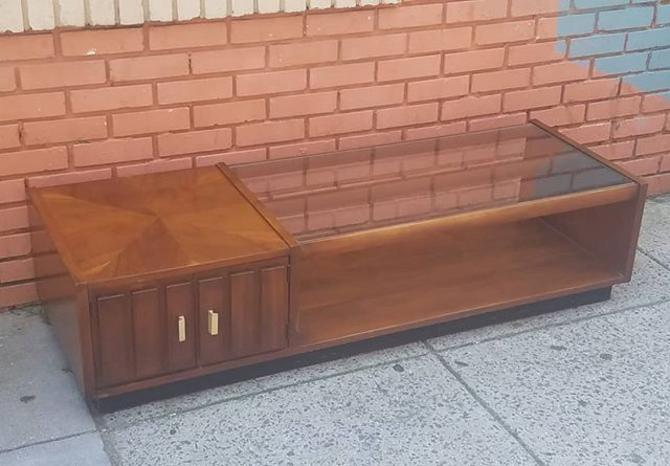 """SOLD.                    MCM Glass Top Cocktail Table, $223. 62""""x22x15 high"""