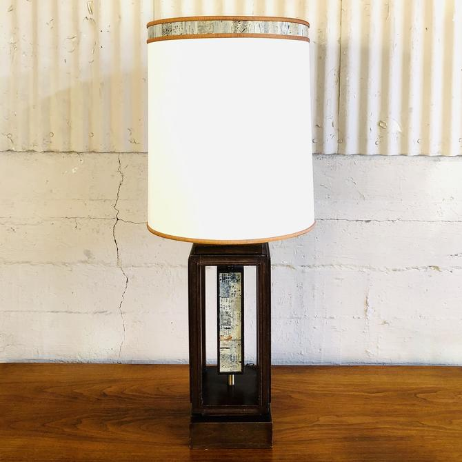 MCM Wood & Cork Table Lamp w/ Cork Trim Shade