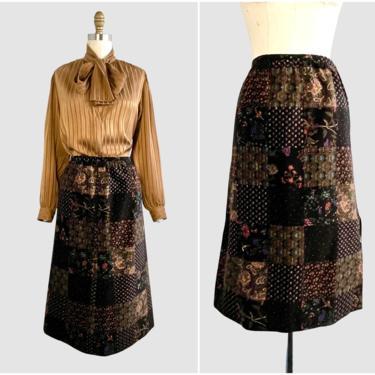 PATCH JOB Vintage 70s I Magnin Velvet Floral Patchwork Skirt | 1970s Patch Print Velveteen Midi Skirt | 60s 1960s Hippie Folk Boho | Medium by lovestreetsf