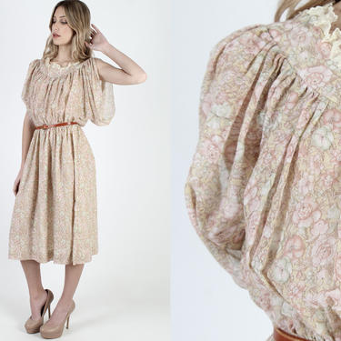 Vintage 70s Prairie Floral Dress Split Kimono Sleeves Dress Batwing Blousy Bodice Elastic Waist 1970s Style Midi Mini Dress by americanarchive