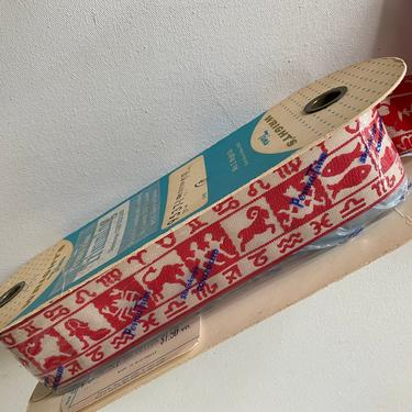 """Vintage Horoscope Trim, Hippie Boho Zodiac Ribbon, Guitar Strap, Original Bolt, Wrights Sewing Trim, 1-7/8"""" Wide Woven Trim, Sewing Notions by luckduck"""