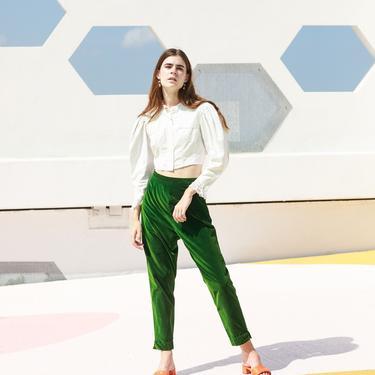 60s Hunter Green Velvet High Waisted Trousers Vintage Straight Leg Cigarette Pants by AppleBranchesVintage
