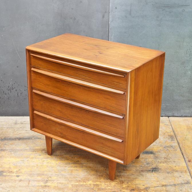 Vintage Mid-Century 1960s Danish Teak Petite Dresser Madsen Sculptural Fin Pulls by BrainWashington