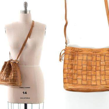 Vintage 1970s 1980s Purse | 70s 80s Light Caramel Brown Leather Woven Crossbody Shoulder Bucket Bag by BirthdayLifeVintage