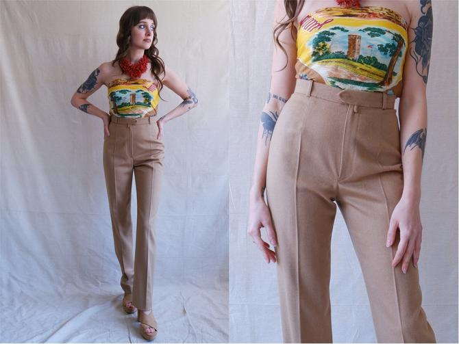 Vintage Christian Dior Camel Trousers/ Light Brown High Waisted Straight Leg Wool Pants/ Size 25 by bottleofbread