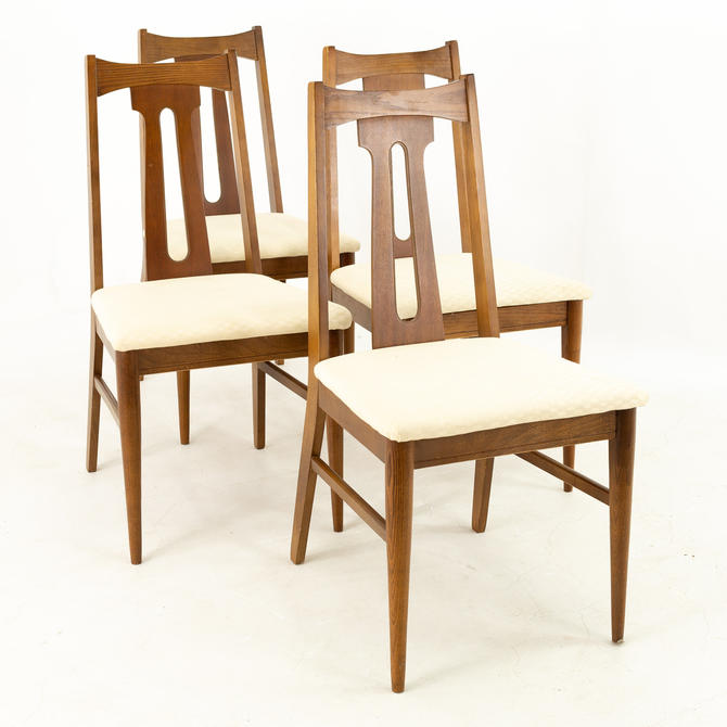 Bassett Mid Century Walnut Dining Chairs - Set of 4 - mcm by ModernHill