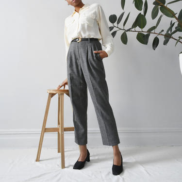 vintage grey wool trousers, 90s minimal high waisted pants, size L by ImprovGoods
