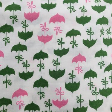 Vintage 1950's Novelty Umbrella Print Fabric / 60s Pastel Shower Cotton Fabric by SilhouettetsyVintage