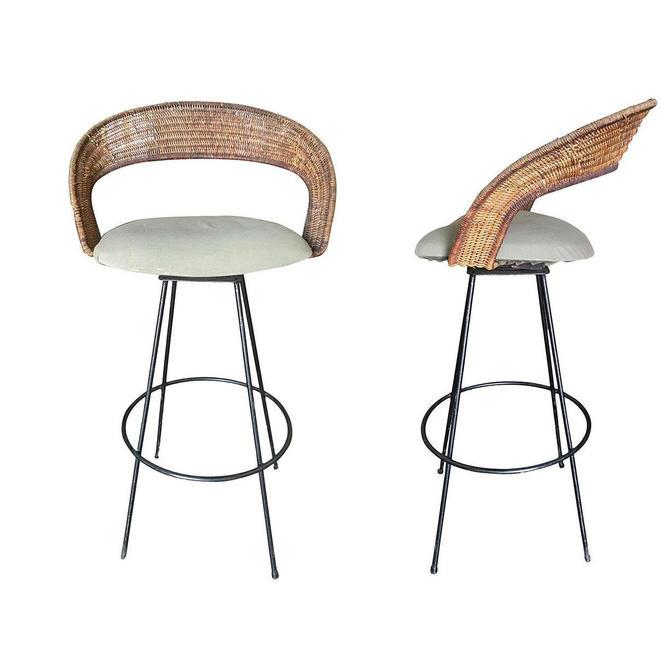 Wicker and Iron Swivel Barstools by Arthur Umanoff, Set of Two by HarveysonBeverly