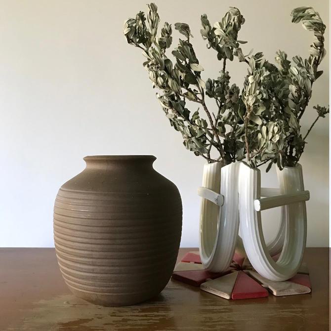 Edith Heath Ceramics Ribbed Bud Vase Vintage Mid-Century Modern California Design by BrainWashington