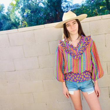 Susan Freis Blouse // vintage 80s 1980s boho hippy high waist red dress top shirt hippie high fashion // O/S by FenixVintage