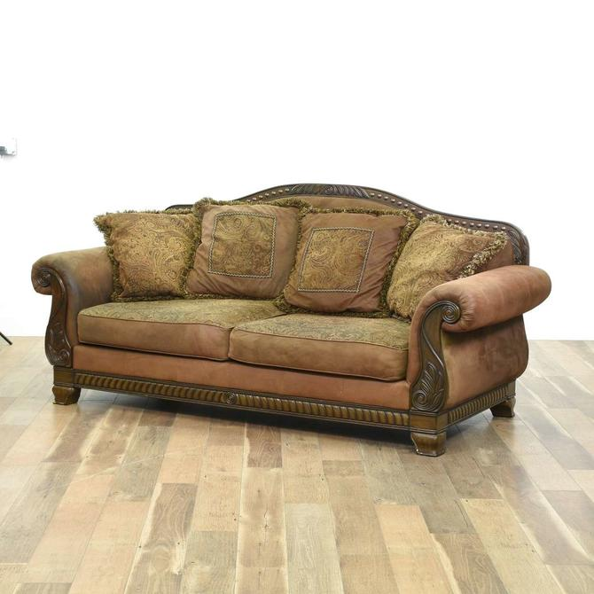Contemporary Carved Empire Style Overstuffed Sofa