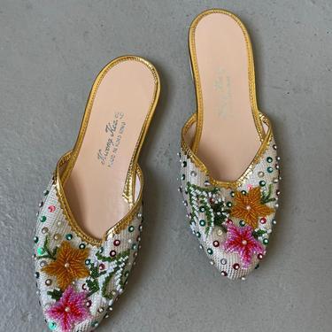 1970s Slipper Shoes Beaded Slide Sandals 6 by dejavintageboutique