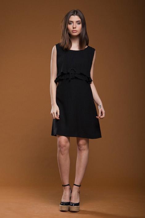 mod LBD little black shift dress pleated ruffled tiered sleeveless vintage 60s SMALL MEDIUM S M by shoprabbithole