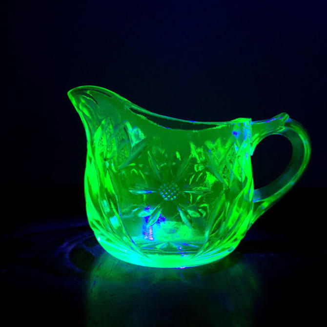 Vintage U.S. Glass Company Floral and Diamond Green Uranium Glass Small Creamer by OverTheYearsFinds
