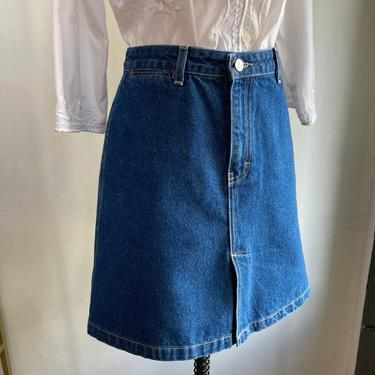 Vintage 90s CK Calvin Klein Denim MINI Skirt / Deep Front Vent + No Pockets / Made in USA by CharmVintageBoutique