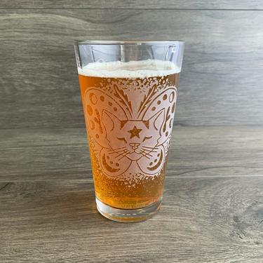Moth Butterfly Cat Beer Glass - Magical 16oz Etched Pint Glass by BreadandBadger