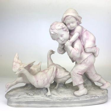 Vintage Limbach Porcelain Figurine- Kids w/ Geese by secondhandstory