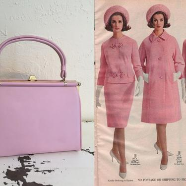The Jackie O's - Vintage 1950s 1960s Paradise Pink Soft Faux Leather Vinyl Handbag Purse by RoadsLessTravelled2