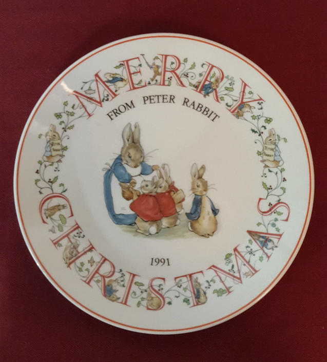 Vintage Beatrix Potter Nursery Ware 1991 Peter Rabbit Christmas Plate By Wedgwood by OverTheYearsFinds