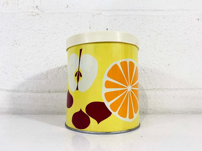 True Vintage Fruit Canister Tin Storage Lithograph Metal Basket Bucket Mid Century Retro Container Kitchen Pantry 1970s 70s by CheckEngineVintage