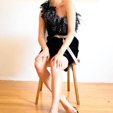 AJ Bari Silk Velvet One Shoulder Dress with Oversized Marabou Trim Feather 1990s Minimal by backroomclothing