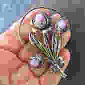 Pink Art Glass Bouquet Flower Brooch by LegendaryBeast