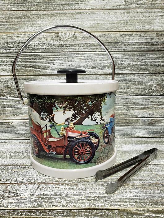Vintage Ice Bucket & BOX, Antique Cars Justen Ice Bucket, Old Timer Cars, Retro 70s Automobile Barware, Party Supplies, Vintage Barware by AGoGoVintage