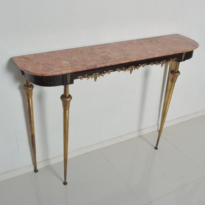 Italian Console Table With Bronze Legs and Rose Marble Top Hollywood Regency by AMBIANIC