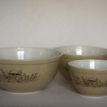 vintage pyrex forest fancies nesting bowls set of three #401 #402 #403 by suesuegonzalas