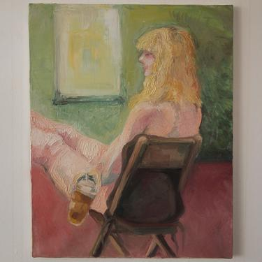 """Original Vintage NUDE FEMALE Portrait PAINTING 20x16"""" Canvas, Woman, Chair, Iced Coffee, Pink Mid-Century Modern Art impressionist eames era by refugegallery"""