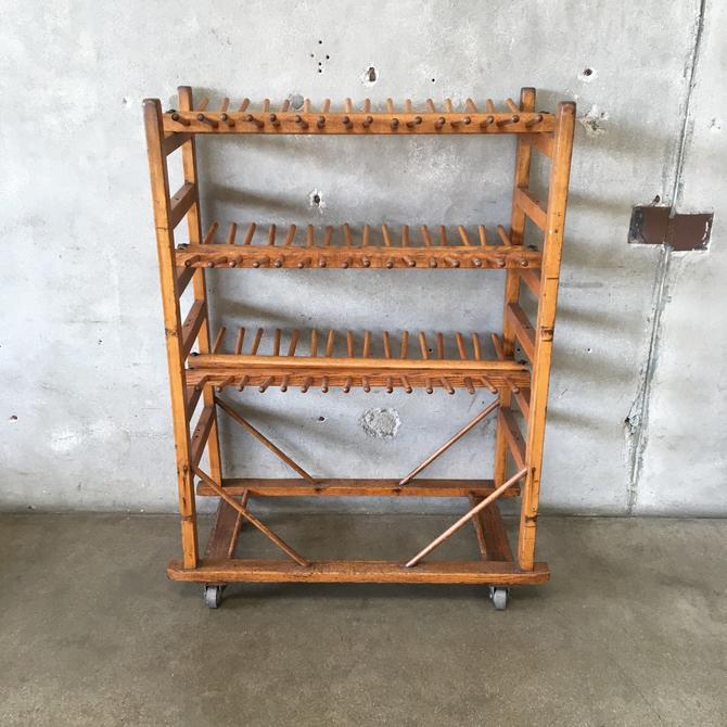 Industrial Wood Rolling Shoe Rack