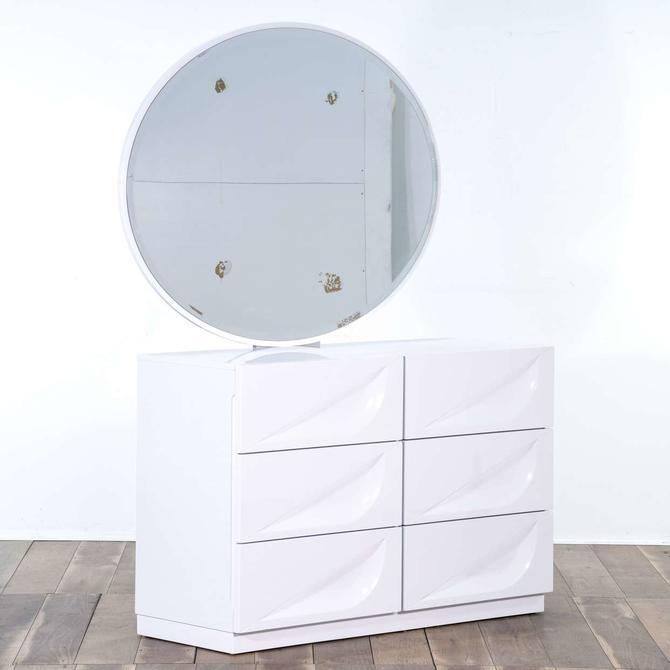 Modern White 6 Drawer Vanity Dresser W/ Round Mirror