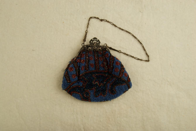 Antique Beaded Bag With Ornate Art Nouveau Frame and Chain rsb by TheresaWellsStifel