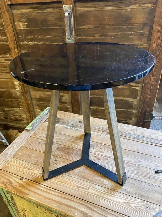 "Small 3 leg Table 21""tall x 18"" dia."