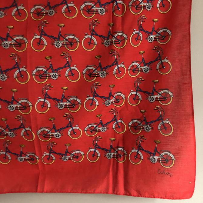 """Vintage Echo Cotton Scarf with Bicycles, red cotton bandana 26"""" square, festival scarf, headscarf, bike gifts, biker bandana by ShopTheHyphenate"""